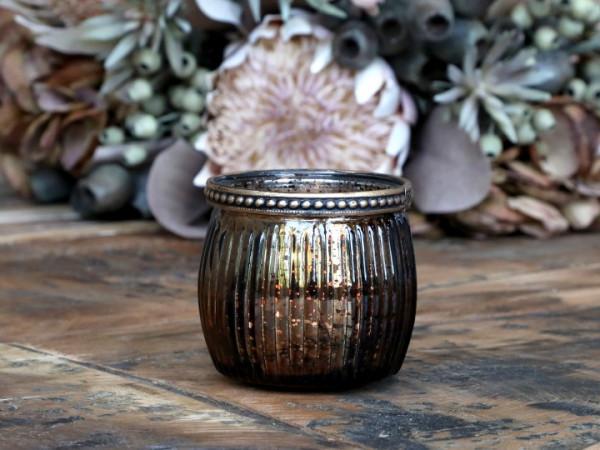 Teelichtglas mokka mit Perlenkante - Chic Antique