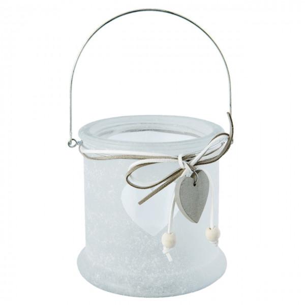 Kerzenglas mit Henkel, milchglas mit Herz, Clayre&Eef