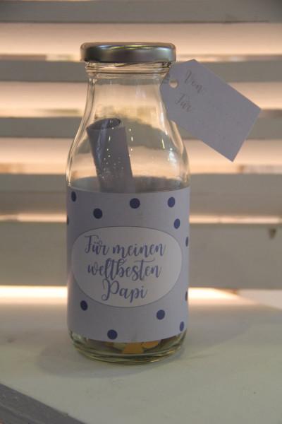 """Flasche für Gutschein """" Papi """""""
