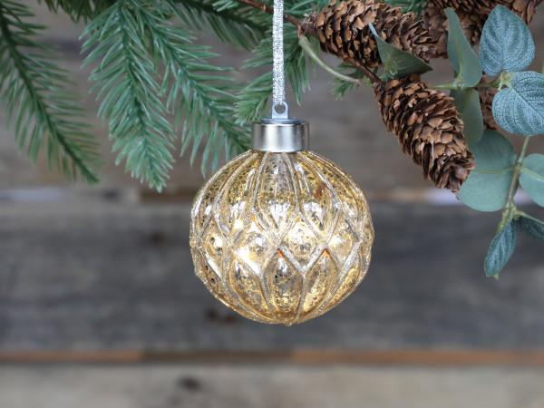 Weihnachtskugel mit Glitzer LED, Chic Antique