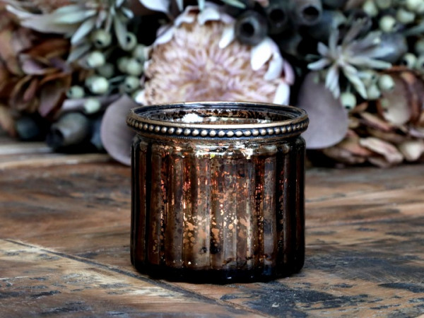 Teelichtglas mokka gerillt mit Perlenkante - Chic Antique