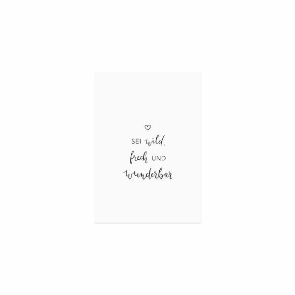 """Spruchkarte """"Wild und frech"""", Eulenschnitt"""